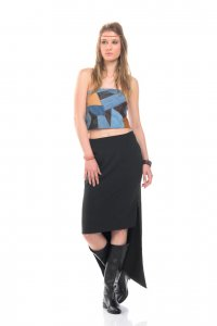 New zip skirt in black and bohemian top - Sisters Code by SBC