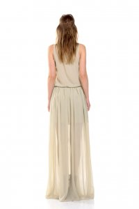 Maverick dress - no sleeve maxi dress, in light beige color - Sisters Code by SBC