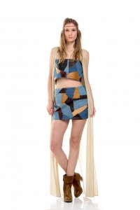 Patchwork bohemian top and mini skirt - Sisters Code by SBC